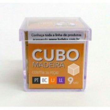 Cubo Madeira 36 Peças (Preto, Branco, Laranja e Lilás)