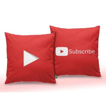 Almofada Play Button Subscribe - quadrada