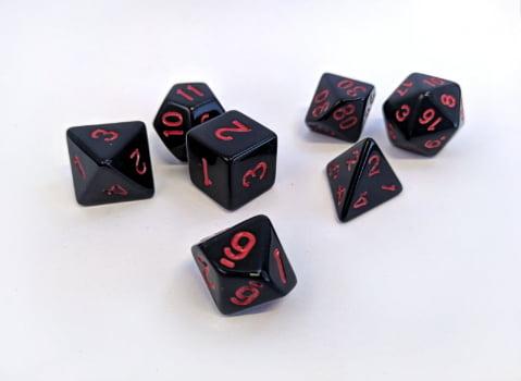 Dados para RPG Linha Black - Conjunto com 7 peças