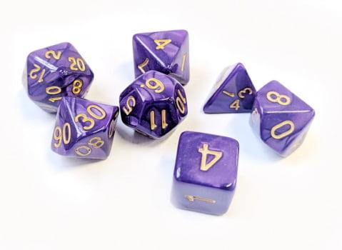 Dados para RPG Linha Marmorizados - Conjunto com 7 peças